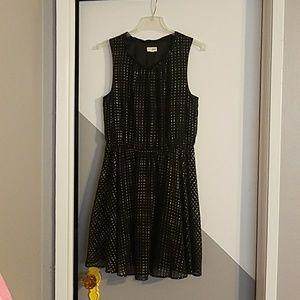 Black mini dress with gold dots